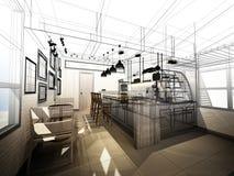 Conception de croquis de café images libres de droits