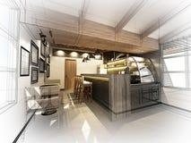 Conception de croquis de café Photo libre de droits