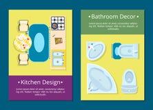 Conception de cuisine, illustration de vecteur de décor de salle de bains Photo stock