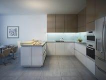 Conception de cuisine moderne lumineuse avec la barre Photo stock