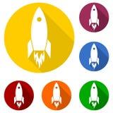 Conception de démarrage plate d'icône de concept d'affaires de Rocket Beginning Fly Up Start et longue ombre Photo libre de droits