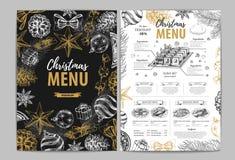 Conception de dessin de menu de vacances de Noël de main Le dîner de mariage avec de la viande de roulis a fumé et des tomates illustration libre de droits