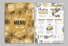 Conception de dessin de menu de vacances de Noël de main Le dîner de mariage avec de la viande de roulis a fumé et des tomates illustration stock