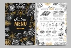 Conception de dessin de menu de vacances de Noël de main Le dîner de mariage avec de la viande de roulis a fumé et des tomates illustration de vecteur