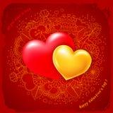Conception de deux coeurs pour le jour de valentines Images stock