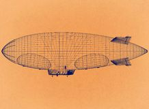 Conception de dirigeable - rétro architecte Blueprint illustration stock