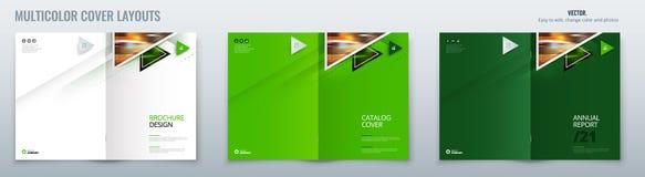 Conception de disposition de calibre de brochure avec des triangles Rapport annuel d'entreprise constitu?e en soci?t?, catalogue, illustration stock