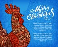 Conception de félicitation de nouvelle année de vecteur Coq, coq, symbole de jeune coq illustration libre de droits