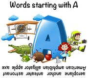 Conception de fiche de travail pour des mots commençant par A Illustration Stock