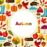 Conception de fond avec des icônes et des objets d'automne Photos stock