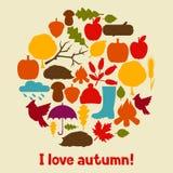 Conception de fond avec des icônes et des objets d'automne Images stock