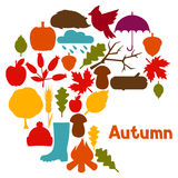 Conception de fond avec des icônes et des objets d'automne Image stock