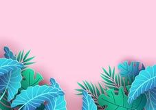 Conception de fond d'été avec les éléments tropicaux Fond et feuilles roses ? vendre la banni?re, l'affiche ou la remise de bon ? illustration libre de droits