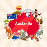 Conception de fond d'Australie Symboles et objets traditionnels australiens d'autocollant illustration de vecteur