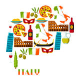 Conception de fond de l'Italie Symboles et objets italiens illustration stock