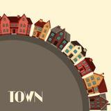 Conception de fond de ville avec des cottages et des maisons illustration de vecteur