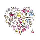 Conception de forme de coeur avec des jouets pour le bébé Images stock