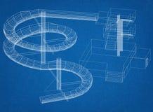 Conception de glissière d'eau - architecte Blueprint illustration de vecteur