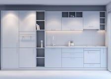 Conception de Gray Kitchen avec le style moderne, rendu 3D illustration stock