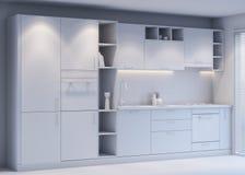 Conception de Gray Kitchen avec le style moderne, rendu 3D illustration de vecteur