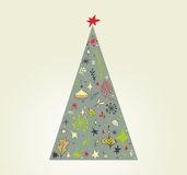 Conception de griffonnage d'arbre de Noël Photo stock