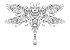Conception de griffonnages de libellule pour le tatouage, l'élément de conception, le graphique de T-shirt et les pages de livre  illustration libre de droits