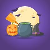 Conception de Halloween avec le chaudron, les sorcières chapeau, le balai, le potiron, la pleine lune et les battes illustration de vecteur