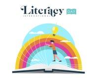 Conception de jour d'instruction du monde de livre de lecture d'enfant illustration de vecteur
