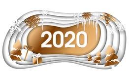 Conception de Joyeux No?l heureux cr?atif et de nouvelle ann?e 2020 Art de papier de la bonne ann?e 2020 de for?t d'hiver et styl illustration stock