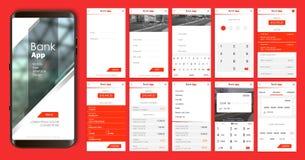 Conception de l'application mobile, UI, UX Un ensemble d'écrans de GUI avec l'entrée de login et de mot de passe illustration stock