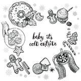Conception de l'avant-projet d'hiver avec la boisson chaude, desserts de Noël et mains de se tenir Illustration Stock