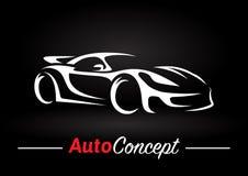 Conception de l'avant-projet d'une silhouette superbe de voiture de véhicule de sports sur le fond noir Photographie stock libre de droits