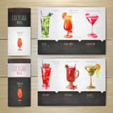 Conception de l'avant-projet de cocktail d'aquarelle Template de corporation pour des dessin-modèles d'affaires illustration libre de droits