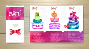 Conception de l'avant-projet de dessert d'aquarelle Template de corporation pour des dessin-modèles d'affaires illustration stock