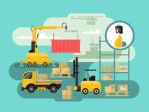 Conception de l'avant-projet de logistique d'entrepôt illustration de vecteur