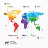Conception de l'avant-projet géométrique d'infographics d'illustration de carte du monde. Photo stock