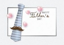 Conception de l'avant-projet heureuse de jour de pères de cravate et de moustache Image libre de droits