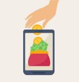 Conception de l'avant-projet mobile d'opérations bancaires avec l'argent sur le portefeuille illustration stock