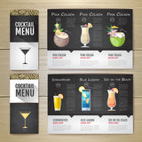 Conception de l'avant-projet plate de menu de cocktail Template de corporation pour des dessin-modèles d'affaires Images stock