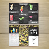 Conception de l'avant-projet plate de menu de cocktail Template de corporation pour des dessin-modèles d'affaires Photo stock