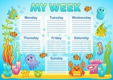 Conception de l'horaire d'école pour des enfants Fond sous-marin lumineux pour la planification de la semaine d'école illustration stock