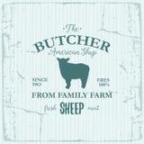 Conception de label d'American Shop de boucher avec des moutons Calibre texturisé de logo de vintage d'animal de ferme Images libres de droits