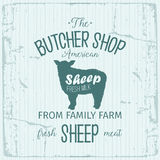 Conception de label d'American Shop de boucher avec des moutons Calibre texturisé de logo de vintage d'animal de ferme Photo libre de droits