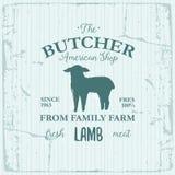 Conception de label d'American Shop de boucher avec l'agneau Calibre texturisé de logo de vintage d'animal de ferme Images libres de droits