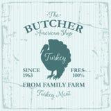 Conception de label d'American Shop de boucher avec l'oiseau de la Turquie Calibre texturisé de logo de vintage d'animal de ferme Photographie stock libre de droits