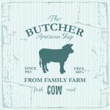 Conception de label d'American Shop de boucher avec la vache Calibre texturisé de logo de vintage d'animal de ferme Photographie stock