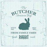 Conception de label d'American Shop de boucher avec le lapin Calibre texturisé de logo de vintage d'animal de ferme Photographie stock libre de droits