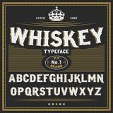 Conception de label de police et témoin de label de whiskey vintage regardant l'oeil d'un caractère dans des couleurs de noir-or, Photographie stock