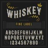 Conception de label de police et témoin de label de whiskey vintage regardant l'oeil d'un caractère dans des couleurs de noir-or, Photos libres de droits