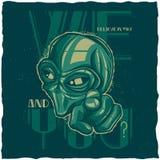 Conception de label de T-shirt d'UFO Image stock